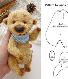 Discover thousands of images about Stuffed toy pattern Teddy bear pattern Bear pattern Toy Sewing Stuffed Animals, Stuffed Animal Patterns, Baby Teddy Bear, Teddy Bears, Teddy Toys, Fabric Animals, Plush Pattern, Bear Doll, Cute Plush