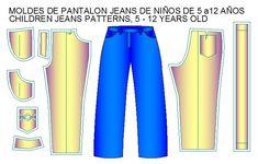 moldes pantalon estilo jeans de niños Patterned Jeans, 12 Year Old, Sewing, Children, Pants, Avatar, Fashion, Shirtdress, Templates