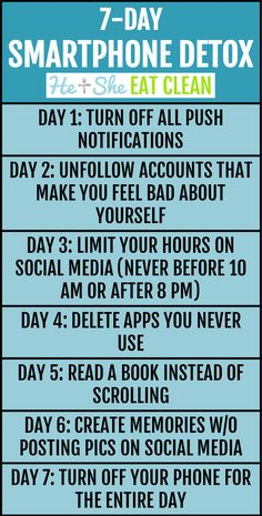 You CAN do it! Take on this 7-Day Smartphone Detox Challenge! #detox #socialmedia #digitaldetox #detoxyourlife #heandsheeatclean