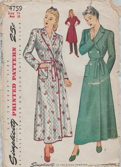 Vintage Simplicity pattern - no longer available. This design will be my future linen robe.