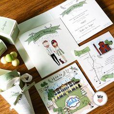Annuncio di Matrimonio in perfetto stile Country il colore è il verde salvia.Le illustrazioni vengono personalizzate in base agli sposi!