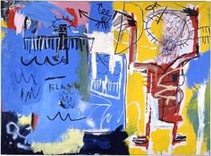 JEAN-MICHEL BASQUIAT  Untitled, 1982  Acrylic, oilstick, spray paint and collage on canvas  68-1/2 x 93 inches (174 x 236.2 cm)
