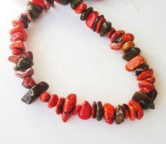 Chunky Nugget Beads Orange Green Magnesite Gemstone by BijiBijoux