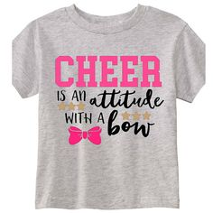 $18. Cheer is an Attitude with a Bow Shirt- Colors Customized- Cheerleading shirts. Youth-Adut sizes. #cheerleading #ad