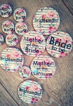 These festival inspired badges are the perfect accessory for your summer hen party, bridal shower or bachelorette party. They come in 25mm or 50mm