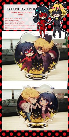 I sinned again :(((((((I CANT STOP THISTHIS TIME I'VE OPENED PREORDERS FOR THE ACRYLIC STANDS :(((((WELP: https://www.etsy.com/listing/258996285/ladybug-chat-noir-acrylic-stands