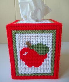 Apple Tissue Box Cover Plastic Canvas by KarensCrochetCottage