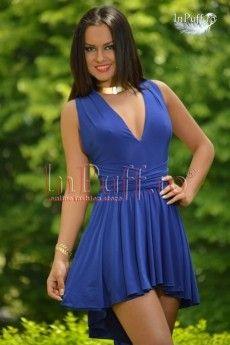 Rochie baby doll din lycra albastra