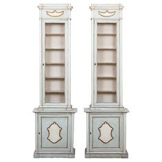 19th Century Painted Italian Cabinets with Brass Wire Fronts | From a unique collection of antique and modern vitrines at https://www.1stdibs.com/furniture/storage-case-pieces/vitrines/