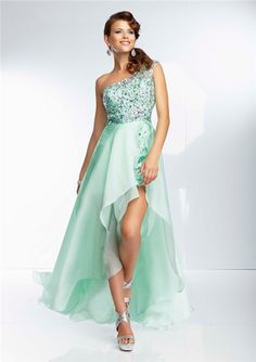 Fashion High Low One Shoulder Sheer Back Mint Green Organza Beaded Prom Dress