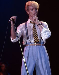 May 1983: David Bowie performs during a 'Serious Moonlight Tour' warm-up gig in Brussels, Belgium