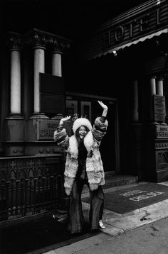 Janis Joplin in March 1969 in front of the Hotel Chelsea in New York City.