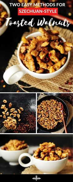 Two easy methods to show you how to toast walnuts, or any nuts, plus a recipe for a spicy and delicious Szechuan-style toasted walnuts. Kitchen Recipes, Gourmet Recipes, Snack Recipes, Easy Recipes, Healthy Gluten Free Recipes, Vegetarian Recipes, Healthy Snacks, Vegan Snacks, Eat Healthy