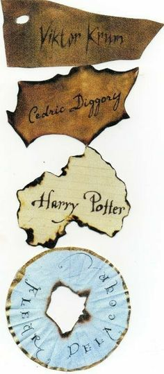 Viktor Krum, Cedric Diggory, Harry Potter, and Fleur Delacour papers that Goblet of Fire spat