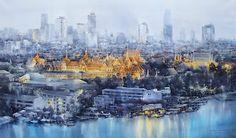 Direk Kingnok Watercolor artist    The Grand Palace, Bangkok  110 x 190 cm.  Watercolor