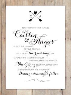My fave - less is more. Cute layout & can use the seal (embossing stamp) at the top (or bottom) to personalise the invitation