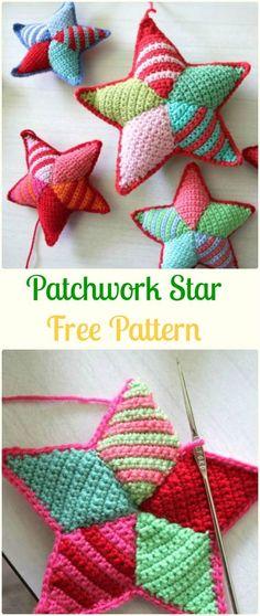Crochet Patchwork Star Free Pattern - Crochet Star Free Patterns #CrochetProjects