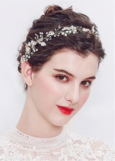 Buy discount In Stock Romantic Alloy Wedding Hair Ornament With Beadings at  magbridal.co. Pearl HeadbandHair ... a5eebb9f53b4
