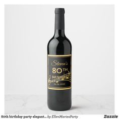 Shop birthday party elegant purple and gold music wine label created by EllenMariesParty. 70th Birthday Parties, Blue Birthday, Birthday Celebration, Birthday Ideas, Wine Bottle Labels, Wine Label, Bb Beauty, 40 And Fabulous, Milestone Birthdays
