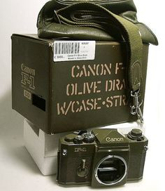 Canon OD F-1 Camera. Total quantity produced was 2,002 units. This is a limited edition based on a revised Canon F-1body configuration. Most external parts are finished in olive drab (OD) military color. It was sold specifically in mainland Japan only.