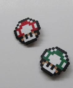 Set of 2 Pixel Art Creations - Power Up and 1-UP Mushroom by emmadreamstar - these can be made into hair clips for the bridesmaids/flower girl or pins for the groomsmen/ring bearer