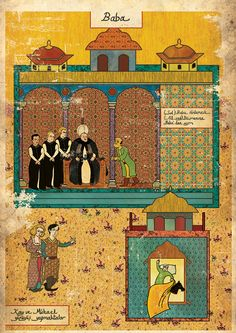 """Murat Palta - """"The Godfather"""" done in the style of a Persian miniature. Every single one of these is amazing, I just picked my favorite: http://www.behance.net/gallery/Classic-Movies-in-Miniature-Style/4455311"""