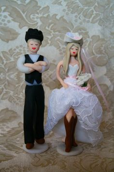 cowboy and cowgirl western wedding cake topper
