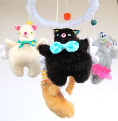 Heavenly Fat Cats Baby Mobile Made to Order by PinkCheeksStudios, $140.00