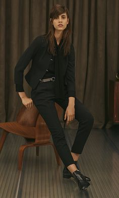 Black Jacket, Black Blouse, Black Trousers, Black Belt and Black Shoes by HUGO