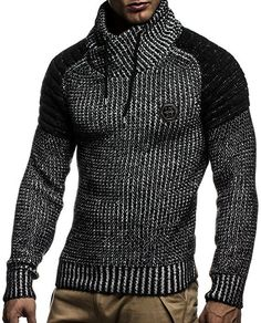 LEIF NELSON Men's Knitted Quilted Biker LN5235 - - Small