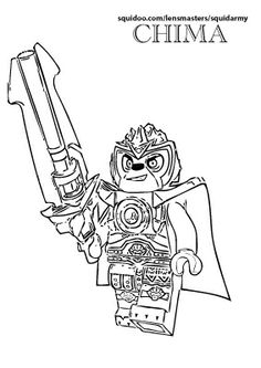 Colouring in LEGO Chima pages for A.