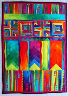 """Blocks on Parade Hand dyed cottons, fused, machine quilted. 17"""" x 23"""""""