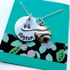 Softball Necklace Hand Stamped Baseball Personalized Mom Girls
