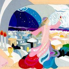 Shabbat queen original tapestry by Bracha Lavee