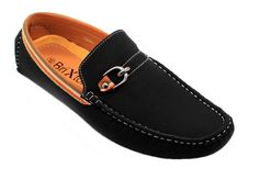 Men's Casual Leather Moccasins Loafer Buckle Slip On Driving Shoes - Black