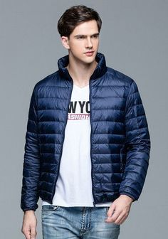 HOT! Autumn Winter man Duck Down Jacket Ultra Light Thin Plus Size Spring Jackets Men Stand Collar Outerwear Coat