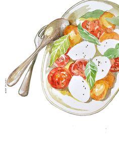 Salad tomato and mozzarella watercolor drawing by ArtandSpirits, €30.00