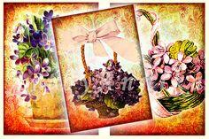 Postcards of vintage violets