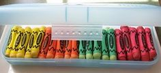 """Pretzel rods + candy melts + free printable """"crayon"""" wrapper = edible crayons. I need to remember this for A's end-of-year party at school!"""