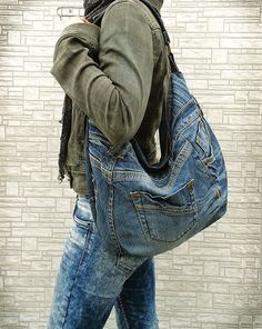 Hobo bag slouchy purse handbag recycled upcycled jeans by BukiBuki