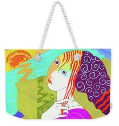 """Girl With Knit Beanie  Weekender Tote Bag (24"""" x 16"""") by Judith Barath.  The tote bag is machine washable and includes cotton rope handle for easy carrying on your shoulder.  All totes are available for worldwide shipping and include a money-back guarantee."""