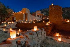 Christmas luminaries found in romantic New Mexico destinations, such as Taos and Santa Fe ...