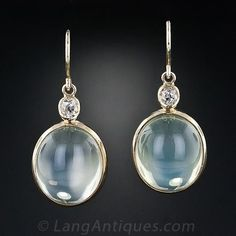 Moonstone and Diamond Dangle Earrings