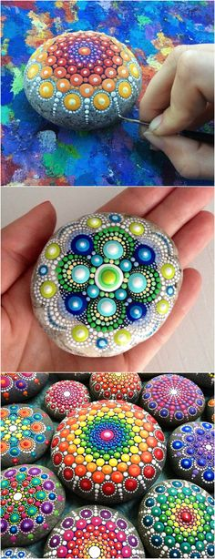 Garden rock art - 100 Gorgeous DIY Stone, Rock, and Pebble Crafts To Beautify Your Life – Garden rock art Pebble Painting, Dot Painting, Pebble Art, Stone Painting, Mandala Painting, River Rock Crafts, Crafts To Sell, Diy And Crafts, Bohemian Crafts