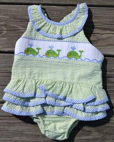 Adorable Vive La Fete Smocked Whale Bathing Suit!