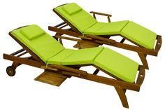 Amazon.de: Hochwertige Auflage für Sonnenliege mit Kopfkissen 2er Set Polster Liege grün