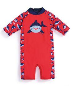 Look at this #zulilyfind! Red & Navy Shark One-Piece Rashguard - Infant #zulilyfinds