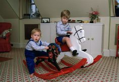 Pin for Later: See Prince William and Kate Middleton as Kids! Prince William and Prince Harry played on their rocking horses at Kensington Palace together in October Prince William Et Kate, Charles And Diana, Prince Henry, Prince Harry And Meghan, Diana Spencer, Lady Diana, Meghan Markle, Royal Nursery, Prinz Charles