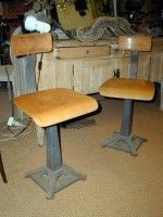 1940s French Singer wood and metal chairs