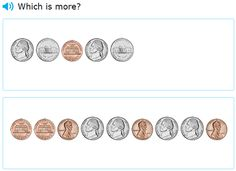 """This is an image from this resource on the Internet4Classrooms' """"Kindergarten Math Help for Standardized Tests - Comparing Numbers"""" resource page:    Which is More.    Interactive quiz comparing two groups of coins. (Pennies and nickles)"""